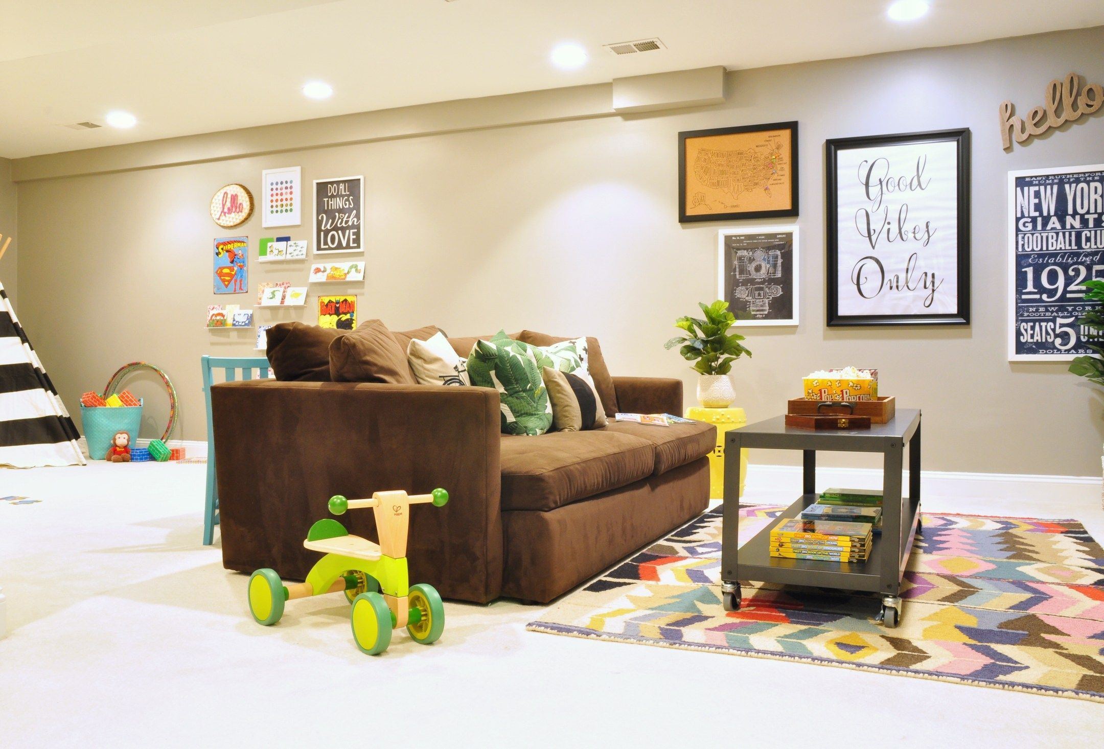 Before And After Our Basement Playroom Tv Room Reveal
