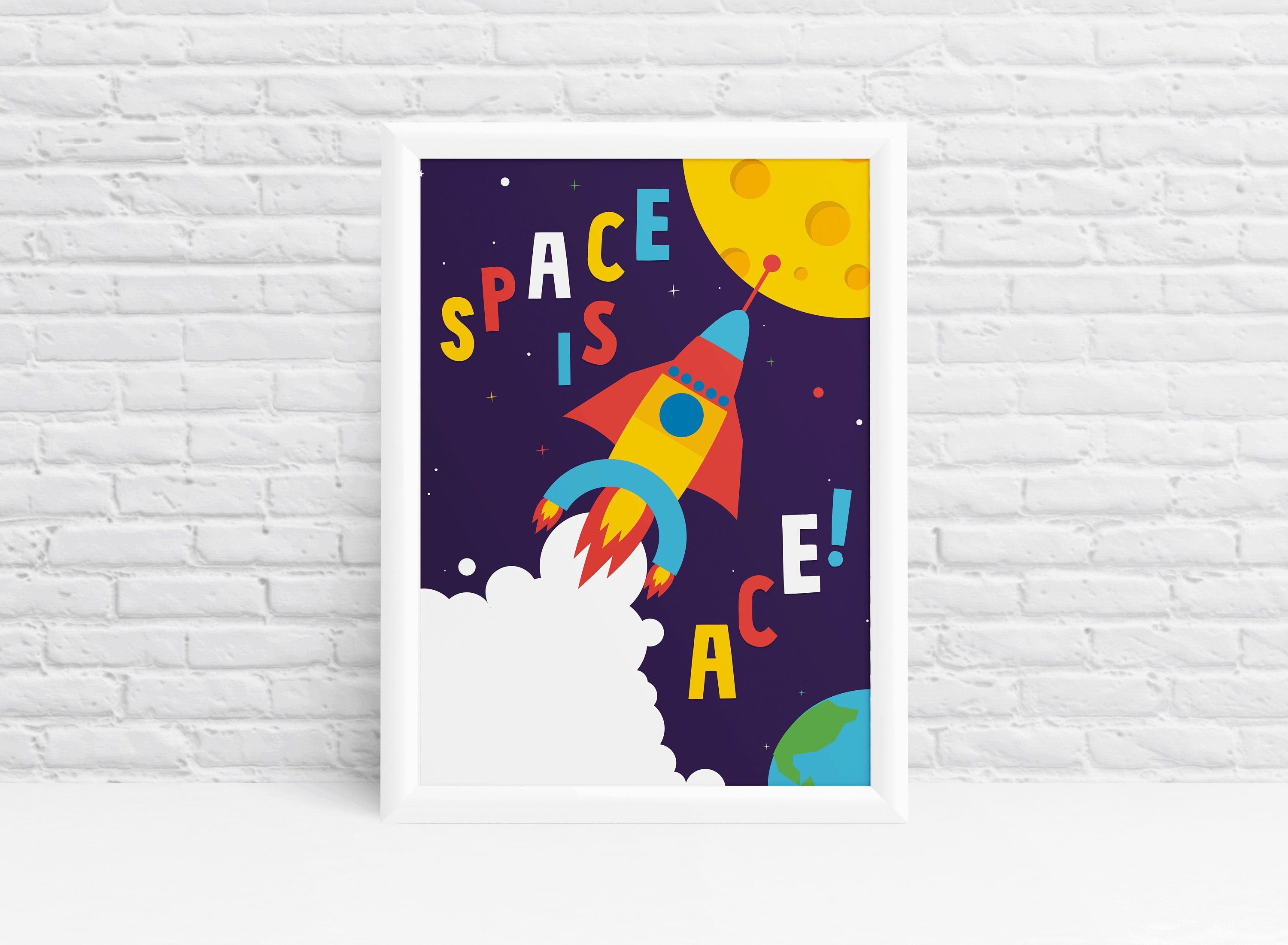 Outer Space Decor Print Boys Playroom Wall Art By Ibbleobble