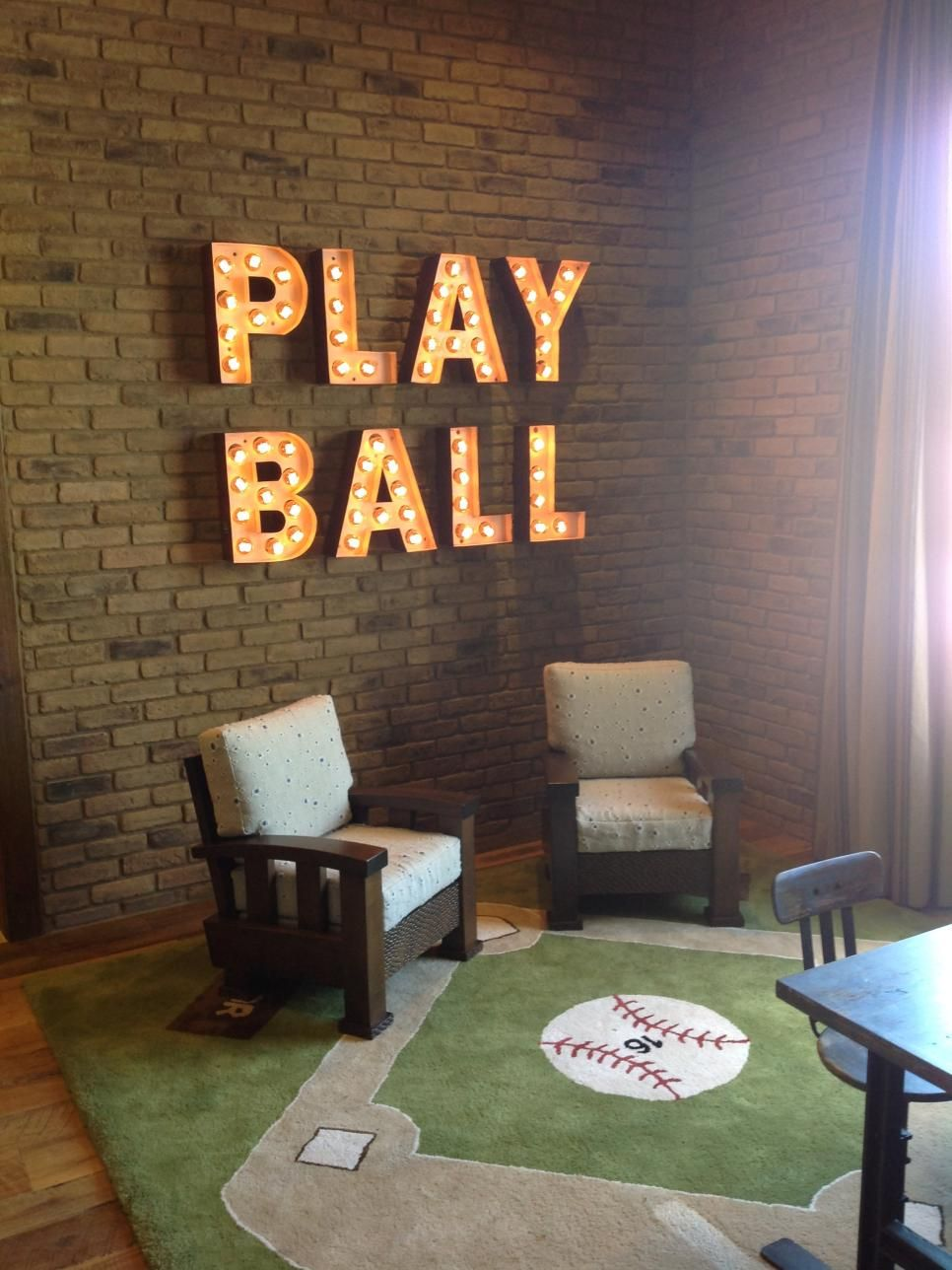 The Game Is On In This Fun Playroom That Features A Baseball