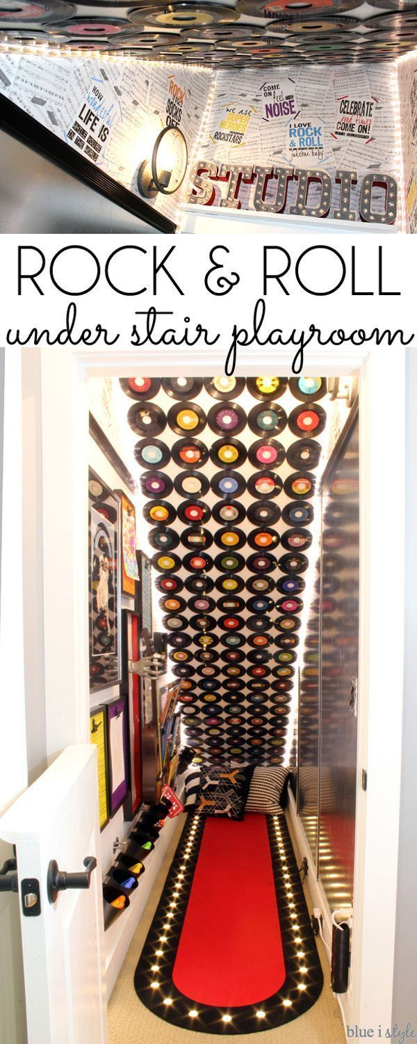 Are You Ready To Rock? A Music Themed Under Stairs Playroom