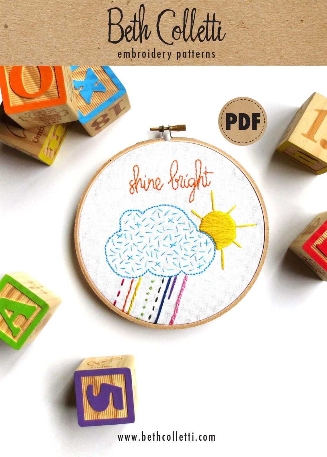Shine Bright Embroidery Pattern For Children's Playroom